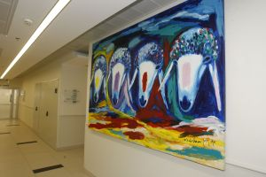 Menashe Kadishman piece in Rabin Medical Center hallway.